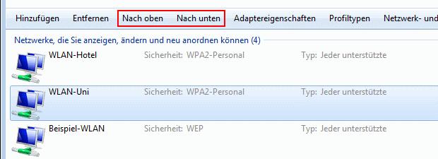 Windows 7 Reihenfolge der WLAN-Verbindungen ändern