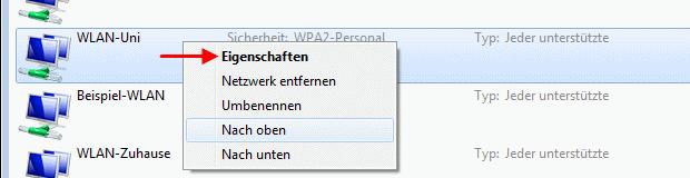Windows 7 WLAN-Verbindung Eigenschaften aufrufen
