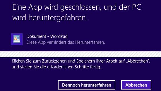 Windows 8 App verhindert das Herunterfahren