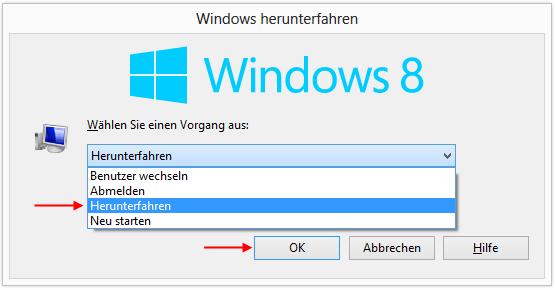 Windows 8 herunterfahren mit Alt F4