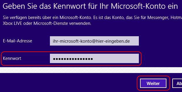 Windows 8 Kennwort des Microsoft-Kontos eingeben