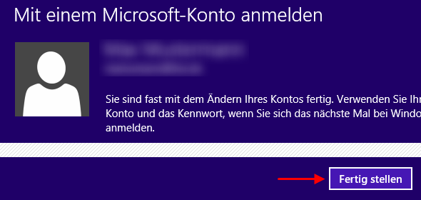 Windows 8 Umstellung auf Microsoft-Konto fertig stellen