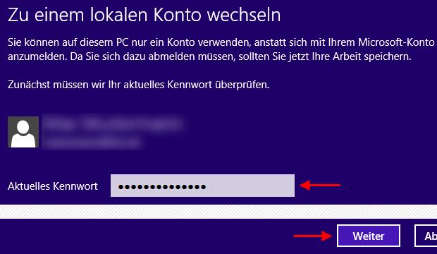 Windows 8 zu einem lokalen Konto wechseln Kennwort eingeben
