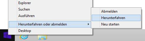 Windows 8.1 herunterfahren über den Startknopf
