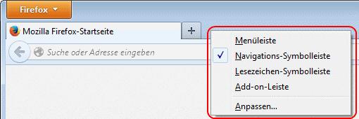 Firefox Symbolleisten ein- und ausblenden