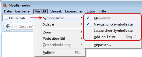 Firefox Symbolleisten über das Menü ein- und ausblenden