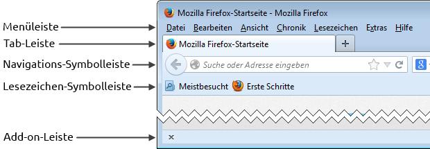 Die Firefox Symbolleisten