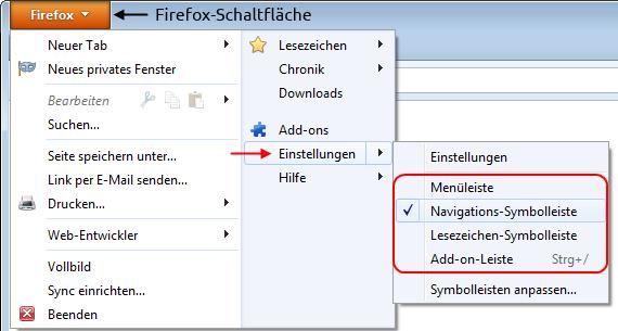 Symbolleisten über die Firefox-Schaltfläche ein- und ausblenden