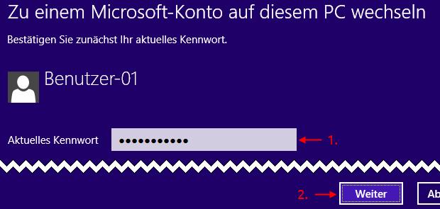 Windows 8.1 Kennwort für lokales Konto eingeben