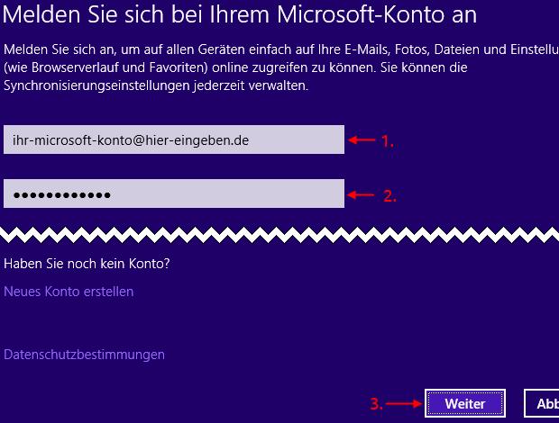 Windows 8.1 lokalen Benutzer mit Microsoft-Konto verbinden