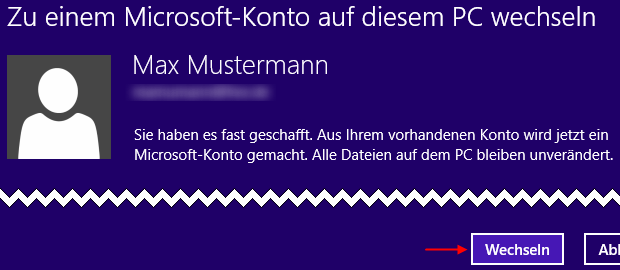 Windows 8.1 lokales Konto auf Microsoft-Konto ändern