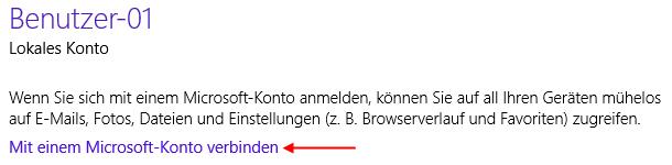 Windows 8.1 von lokalem Konto zu Microsoft-Konto wechseln