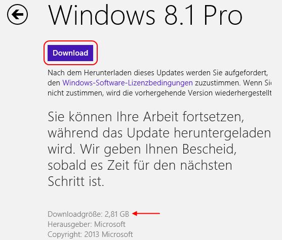 Windows 8.1 Download starten