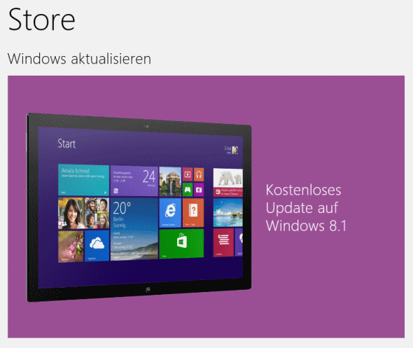 Windows 8.1 im Microsoft Store