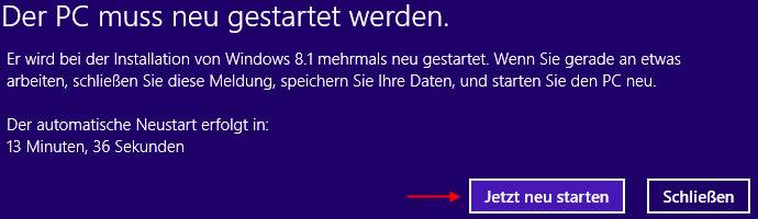 Windows 8.1 Installation Neustart