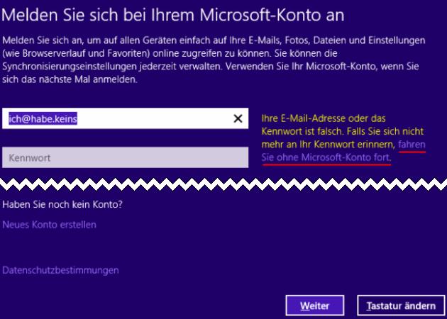 Windows 8.1 ohne Microsoft-Konto installieren