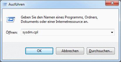 Windows 7 sysdm.cpl aufrufen