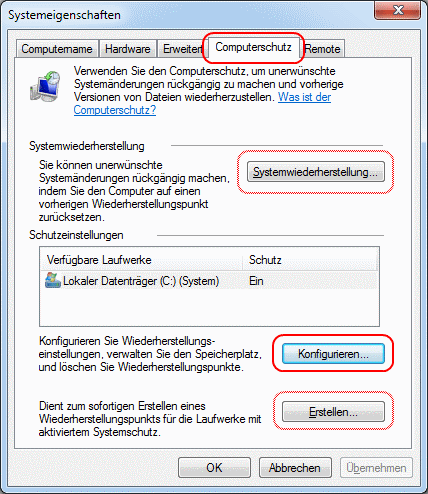 Windows 7 Systemeigenschaften Computerschutz konfigurieren