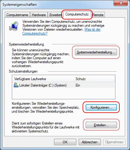 Windows 7 Systemeigenschaften Computerschutz konfigurieren
