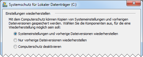 Windows 7 Systemwiederherstellung: vorherige Dateiversionen