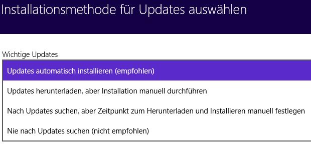 Windows 8.1 Update konfigurieren