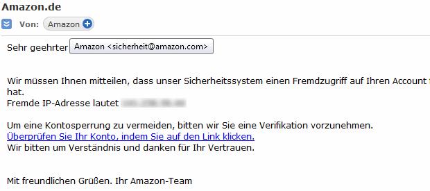 Spam E-Mail Amazon Sicherheitssystem meldet Fremdzugriff auf Account