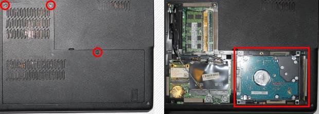 Notebook-Festplatte ausbauen Serviceklappe