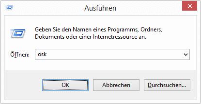 Windows Bildschirmtastatur aufrufen