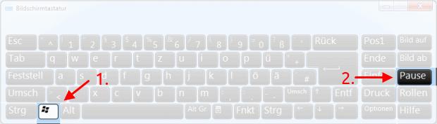 Windows-Taste + Pause auf Bildschirmtastatur