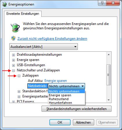 Windows 7 Aktion beim Notebook zuklappen ändern