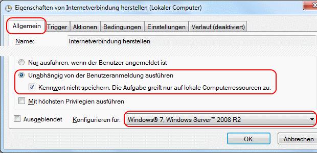 Windows 7 Aufgabe Breitbandverbindung automatisch herstellen Allgemein