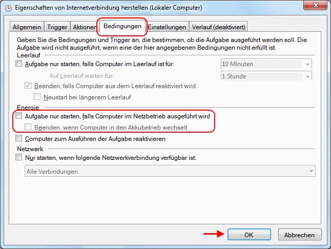 Windows 7 Aufgabe Breitbandverbindung automatisch herstellen Bedingungen
