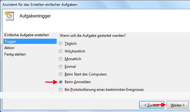 Windows 7 Aufgabe Breitbandverbindung automatisch herstellen beim Anmelden