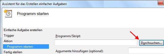 Windows 7 Aufgabe Breitbandverbindung automatisch herstellen Programm festlegen