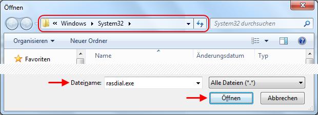 Windows 7 Aufgabe Breitbandverbindung automatisch herstellen Programm rasdial.exe