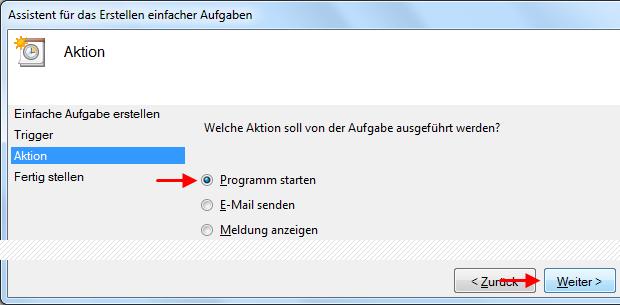 Windows 7 Aufgabe Breitbandverbindung automatisch herstellen Programm starten