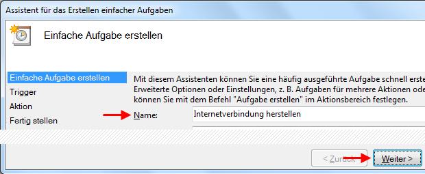 Windows 7 Aufgabe Breitbandverbindung automatisch herstellen