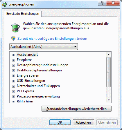 Windows 7 Energieoptionen erweiterte Einstellungen