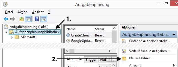 Windows 8.1 Aufgabenplanung neuen Ordner anlegen
