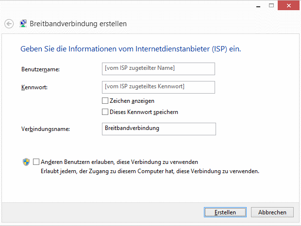 Windows 8.1 Breitbandverbindung erstellen
