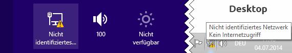 Windows 8.1 Nicht identifiziertes Netzwerk Kein Internetzugriff
