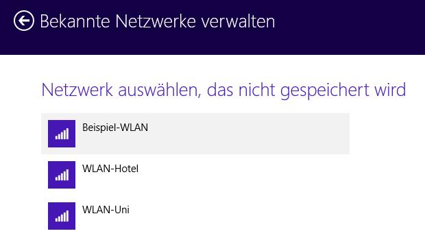 Windows 8.1 WLAN-Netzwerk auswählen das gelöscht werden soll