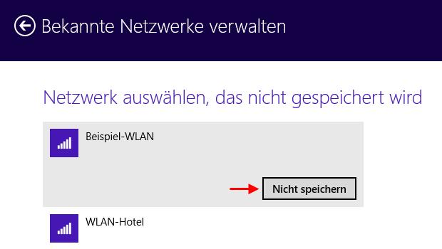 Windows 8.1 WLAN-Verbindung löschen