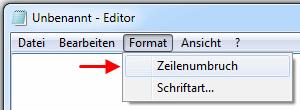 kein automatischer Zeilenumbruch im Windows Texteditor