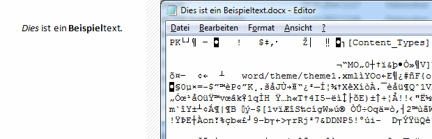 Word Dokument im Texteditor