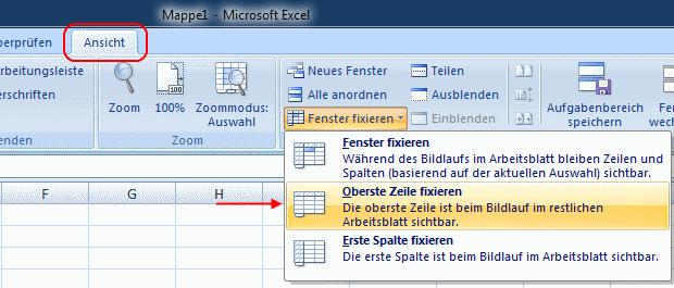 Excel 2007 Oberste Zeile fixieren