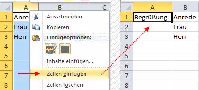 Excel 2010 Spalte einfügen