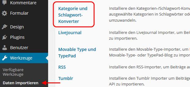 Kategorie- und Schlagwort-Konverter installieren