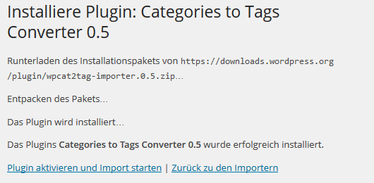 Plugin Categories to Tags Converter installiert