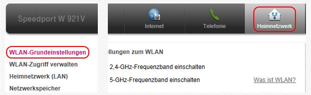 Speedport W 921V Heimnetzwerk WLAN-Einstellungen